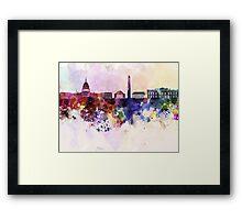 Washington DC skyline in watercolor background  Framed Print