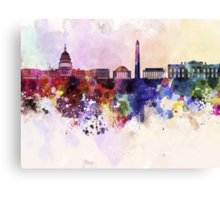 Washington DC skyline in watercolor background  Canvas Print