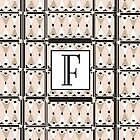 1920s Pink Champagne Gatsby Monogram letter F by CecelyBloom