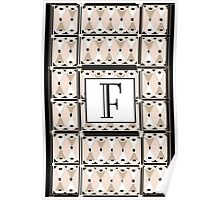 1920s Pink Champagne Gatsby Monogram letter F Poster