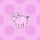 Cute Little Piggy (Baby Pig) - Pink Black  by sitnica