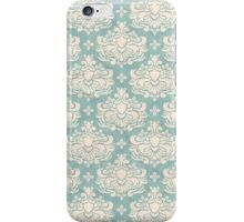 French Damask, Ornaments, Swirls - Blue White iPhone Case/Skin