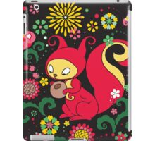 RED Squirrel with Nut. Russian Background. BLACK.  iPad Case/Skin