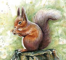 Nutty Squirrel Watercolor Art by OlechkaDesign