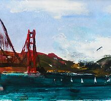 Golden Gate Bridge San Francisco Acrylic Painting Fine Art by JamesPeart