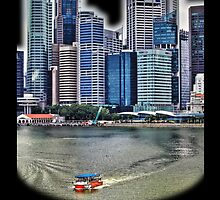 Amphibious Vehicle in front of Singapore Skyline by Holger Mader