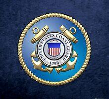 U.S. Coast Guard - USCG Emblem 3D on Blue Velvet by Captain7