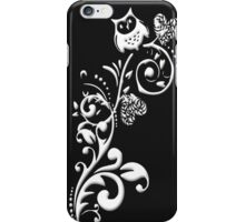 Owl on a Branch Pattern (White on Black) (2917 Views) iPhone Case/Skin