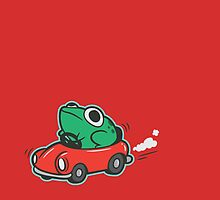 Frog Riding A Car by amandaflagg