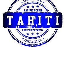 TAHITI Stamp Blue Paradise by dejava