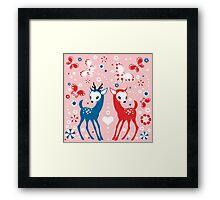 Cute Two Little Deer and Butterflies. Framed Print