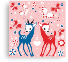 Cute Two Little Deer and Butterflies. Canvas Print