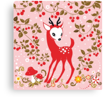Cute Little Deer under Cherry Tree. Canvas Print