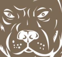 Pitbull Dog Mongrel Head Shield Woodcut Sticker