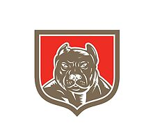 Pitbull Dog Mongrel Head Shield Woodcut by patrimonio