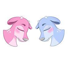 Blue & Pink Deer Photographic Print