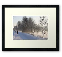 Cold winters day along the river Glomma, Elverum, Norway. Framed Print
