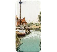 A digital painting of The Staithe, Potter Heigham, Norfolk Broads, England 19th century iPhone Case/Skin