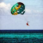 Two Women Parasailing in the Bahamas by Susan Savad