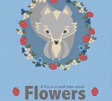 Cute Wolf Poster Surrounded by flowers by Leannenicola