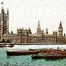 A digital painting of the Houses of Parliament from the River Thames, London, England by Dennis Melling
