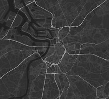 Antwerp, Belgium Map. (White on black) by Graphical-Maps