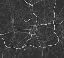 Charleroi, Belgium Map. (White on black) by Graphical-Maps