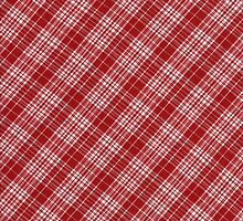 White and Red Plaid Diagonal Fabric Design by KWJphotoart