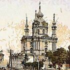 A digital painting of St. Andre's Church, Kiev, Ukraine (Russian Empire) 19th century by Dennis Melling