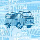 Blue Bay Campervan Dub-U King Size Duvet (please see description), Pillow and Tote by Ra12