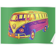Classic VW 21 window Mini Bus Pop Art Image Poster
