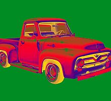 Classic 1955 F100 Ford Pickup Truck Pop Art by KWJphotoart
