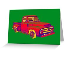 Classic 1955 F100 Ford Pickup Truck Pop Art Greeting Card