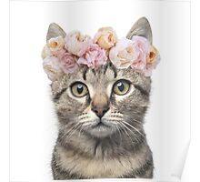 Flower crowned cat Poster