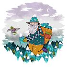 Mountain Guy and Owl Friend by Nichole Lillian Ryan