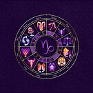 Capricorn - Zodiac Lightburst Circle by ifourdezign