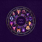 Aquarius - Zodiac Lightburst Circle by ifourdezign