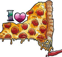 I Love NY Pizza by brutalsquidart