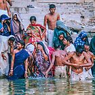Busy bathing ghat, Varanasi India by indiafrank