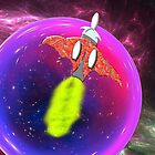 Chiroptera Rocket Ship Orbits the Purple Planet by Dennis Melling