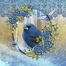 Bluebird And Ice Winter Lace And Roses by Moonlake