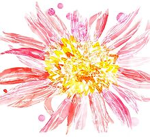 Pink Mixed Media Flower by ellawhittle