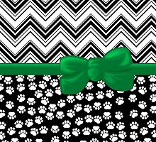 Ribbon, Bow, Dog Paws, Zigzag - White Black Green by sitnica