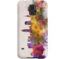 Cleveland skyline in watercolor background Samsung Galaxy Case/Skin