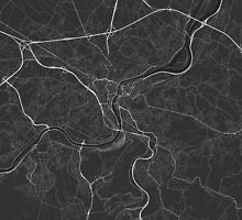 Liege, Belgium Map. (White on black) by Graphical-Maps