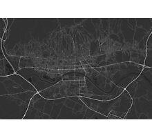Zagreb, Croatia Map. (White on black) Photographic Print