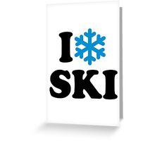 I love Ski snow Greeting Card