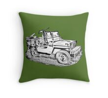 Willys World War Two Army Jeep Illustration Throw Pillow