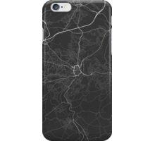 Huddersfield, England Map. (White on black) iPhone Case/Skin