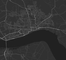 Hull, England Map. (White on black) by Graphical-Maps